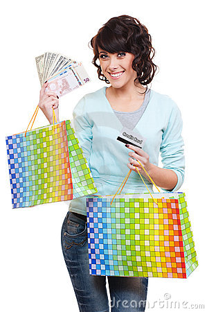 Woman holding money shopping bags