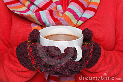 Woman holding a mug of hot chocolate