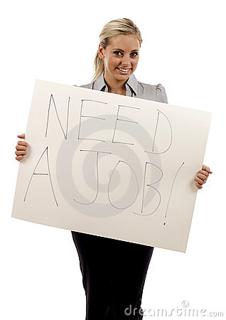 Woman holding a need a job sign