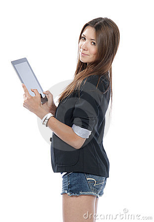 Woman holding new electronic tablet touch pad