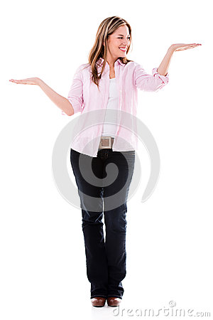 Woman holding objects in hands