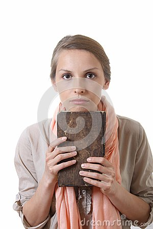 Free Woman Holding Old Book, Isolated Royalty Free Stock Image - 30814336