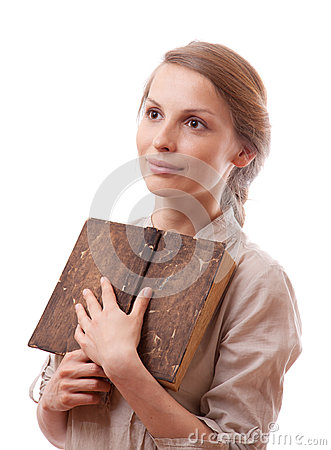 Free Woman Holding Old Book, Isolated Stock Photo - 31065320