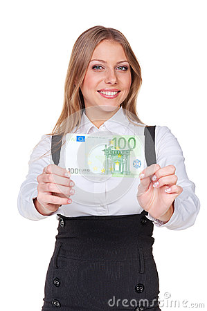 Woman holding one hundred euros