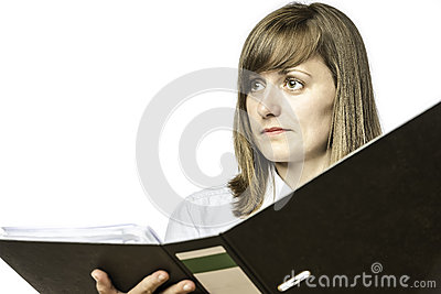 Woman holding open file folder