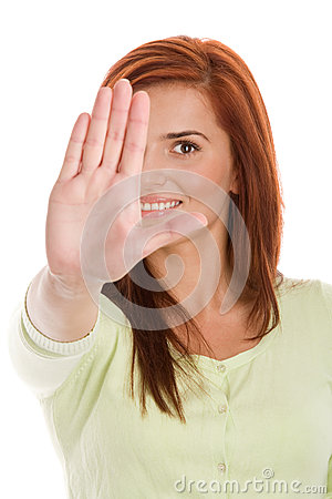 Free Woman Holding Out Her Hand In A Stop Signal Royalty Free Stock Photo - 31681195