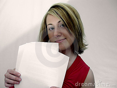 Woman Holding Papers