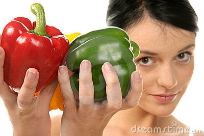 Woman holding peppers
