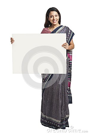 Woman holding placard