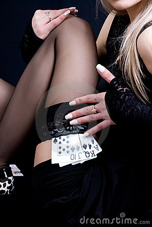 Free Woman Holding Playing Cards Stock Photo - 9345660