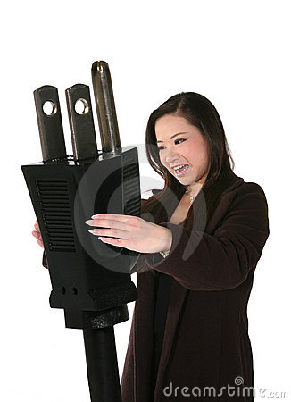 Woman Holding Plug