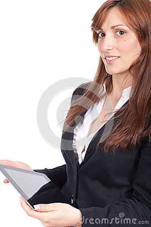 Woman holding a portable computer and smiling