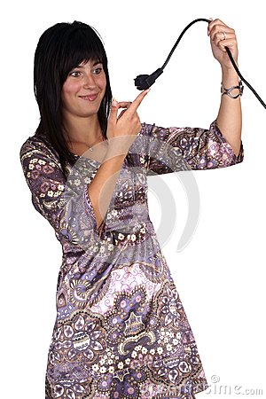 Woman holding a power plug