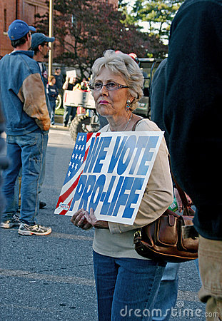 Woman Holding Pro-Life Sign Editorial Image