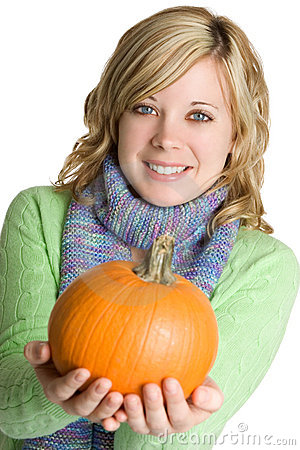 Free Woman Holding Pumpkin Royalty Free Stock Photos - 3270828