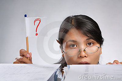 Woman holding question mark flag