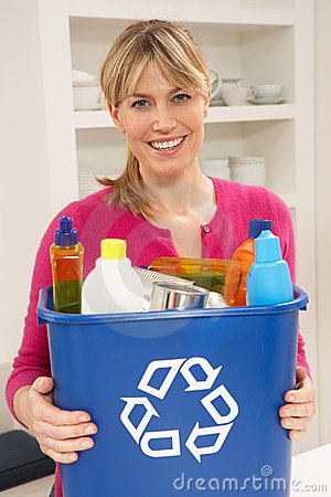 Free Woman Holding Recyling Waste Bin At Home Royalty Free Stock Photo - 18745455