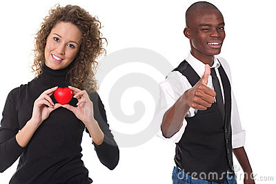 Woman holding red heart and man with thumb up