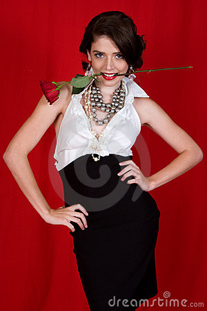 Free Woman Holding Rose Stock Photo - 6659050