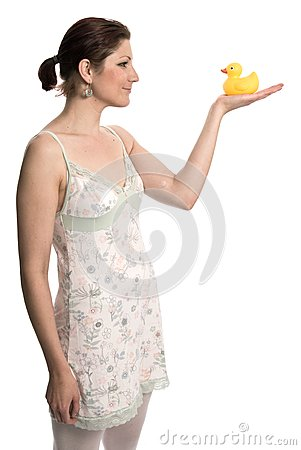Woman holding a rubber duck