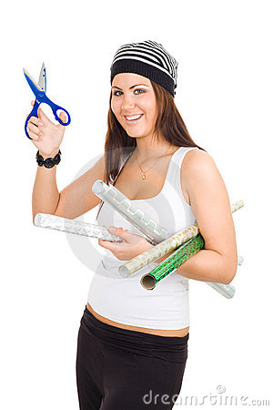 Woman holding scissors and package paper
