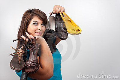 Woman Holding Shoes