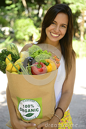 Free Woman Holding Shopping Paper Bag With Organic Or Bio Vegetables And Fruits. Stock Image - 38249871