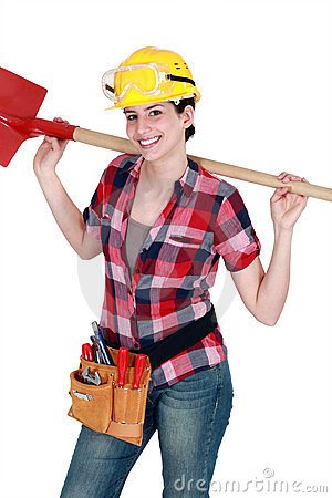 Woman holding a shovel