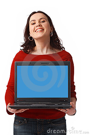 Woman Holding and Showing Open Laptop
