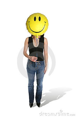 Woman Holding Smiley Balloon