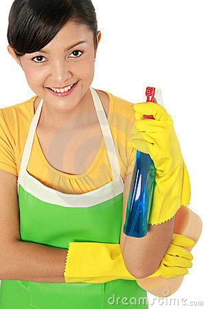 Woman holding spray cleaning tool