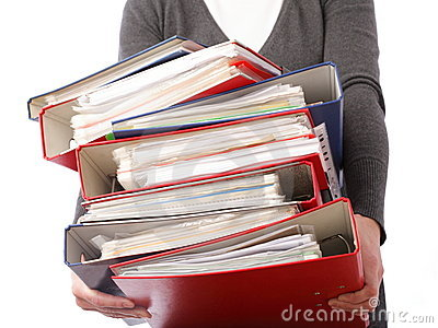 Woman holding stack of folders  - Isolated