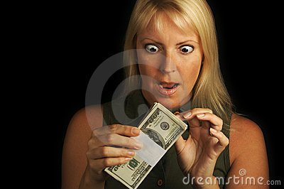 Woman Holding Stack of Money