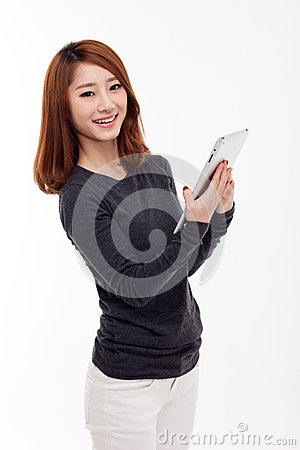 Woman holding tablet computer.