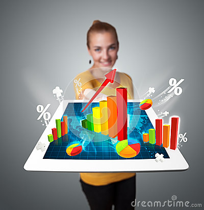 Woman holding tablet with graphs and diagrams