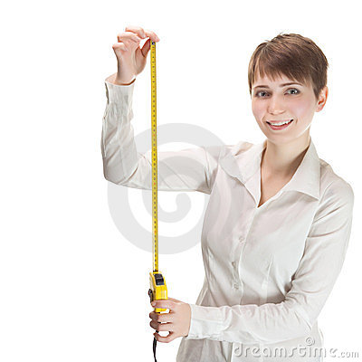 Woman holding a tape measure