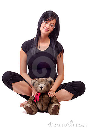 Free Woman Holding Teddy Bear Stock Images - 3097494