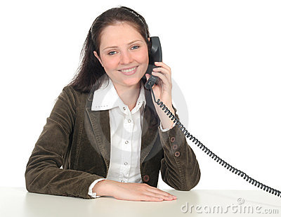 Woman holding a telephone handset