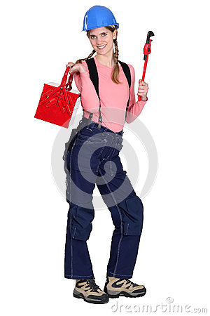 Woman holding tool box