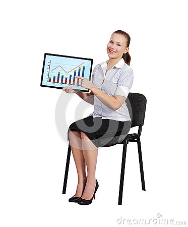 Woman holding touch pad with chart
