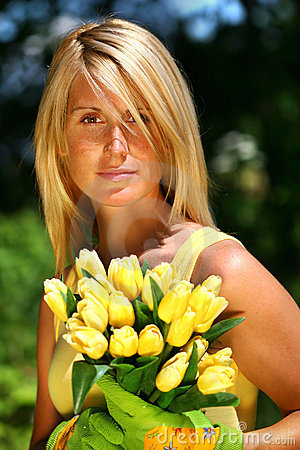 Free Woman Holding Tulips Royalty Free Stock Photography - 2870577