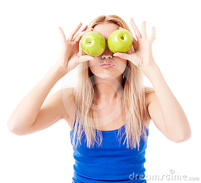 Free Woman Holding Two Apples Royalty Free Stock Photo - 24358005
