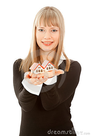 Free Woman Holding Two House (focus On House) Royalty Free Stock Photography - 17998407