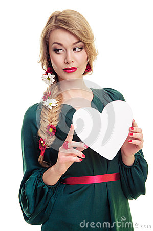 Woman holding Valentines heart