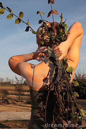 Woman Holding Vines