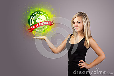 Woman holding virtual eco sign