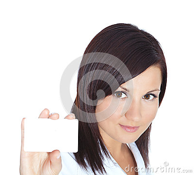 Woman holding visit card isolated over white