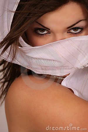 Free Woman Holding White Kerchief Stock Photography - 9928402