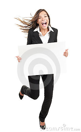 Woman holding white sign - funny and energetic