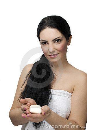 Woman holding a white soap